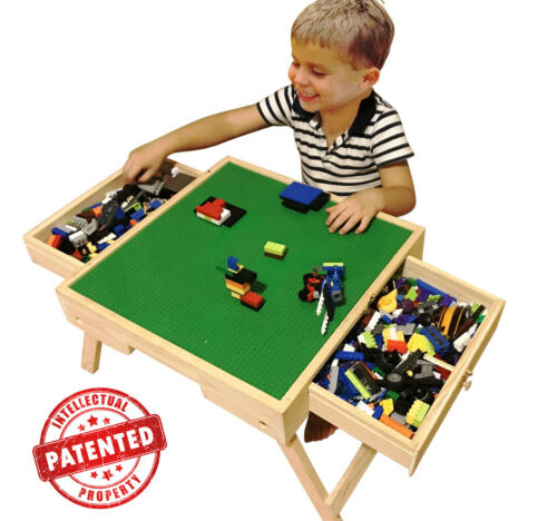 """LEGO NATURAL PLAY TABLE WITH 3 STORAGE DRAWERS SOLID WOOD 29/"""" HIGH LEGS"""