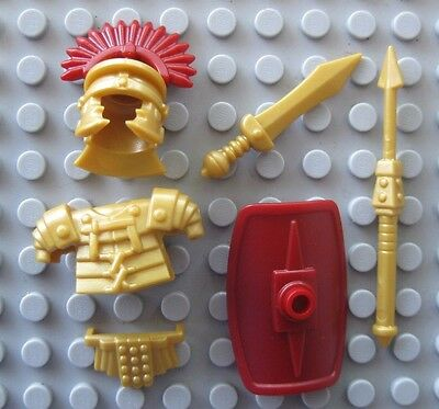 Custom ROMAN CENTURION Legionary Gold ARMOR & WEAPON PACK for Lego Minifigures