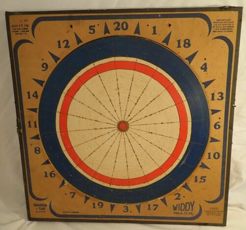 Vintage  Rare Widdy  Wooden  Board Dartboard Made in USA  1965