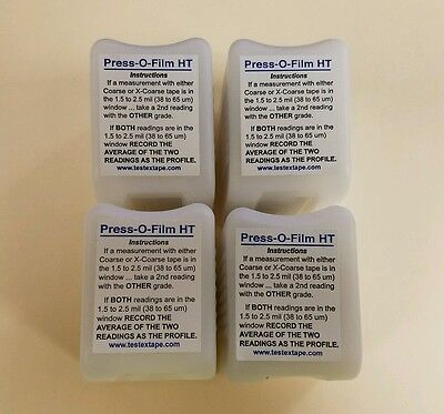 4 Rolls Press-O-Film X-Coarse Grade (1.5-4.5 mils) Testex Replica Tape