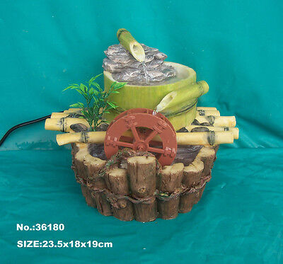 Feng Shui Bamboo Style Water Fountain with Running Wheel