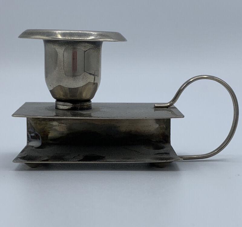 Vintage Silver Color Metal Candlestick With Match Holder