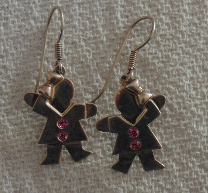 Silver Dangle Earrings Girl with Pink Rhinestones Boucles d