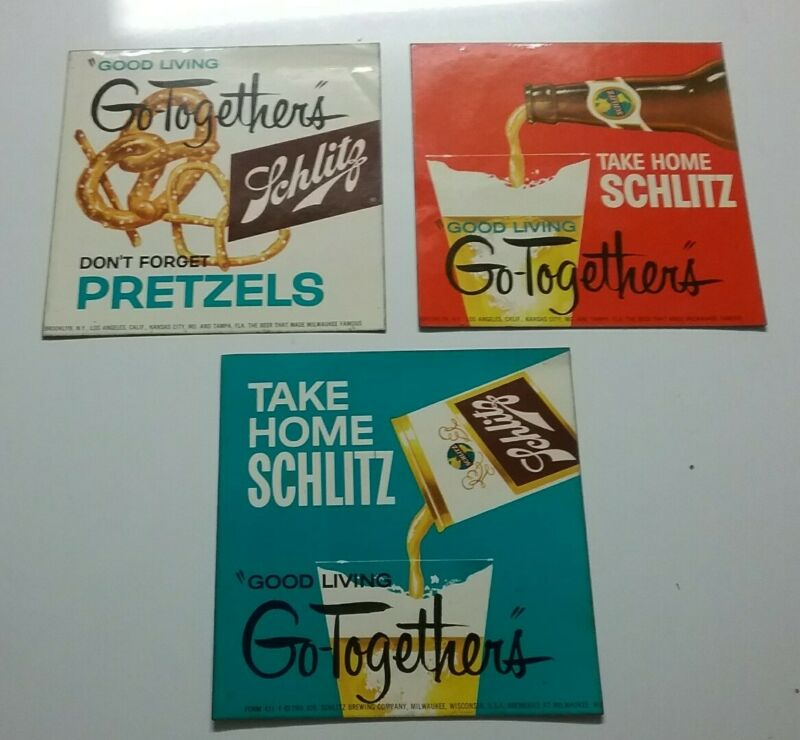 """RARE LOT OF 3 VINTAGE 1961 SCHLITZ BEER """"GOOD LIVING"""" LARGE ADVERTISING STICKERS"""