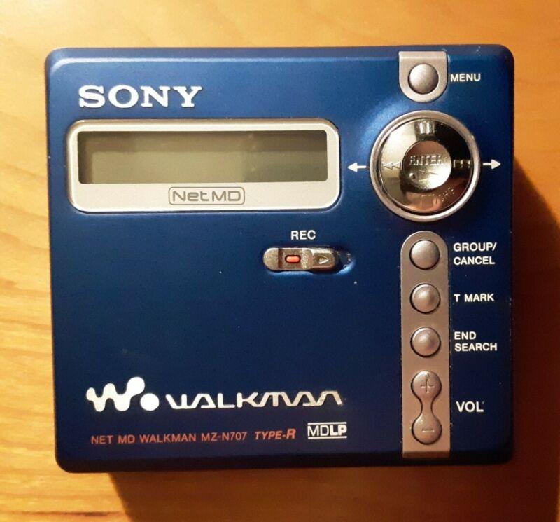 Sony Walkman MZ-N707 Portable Minidisc Recorder Net MD Type-R MDLP Blue