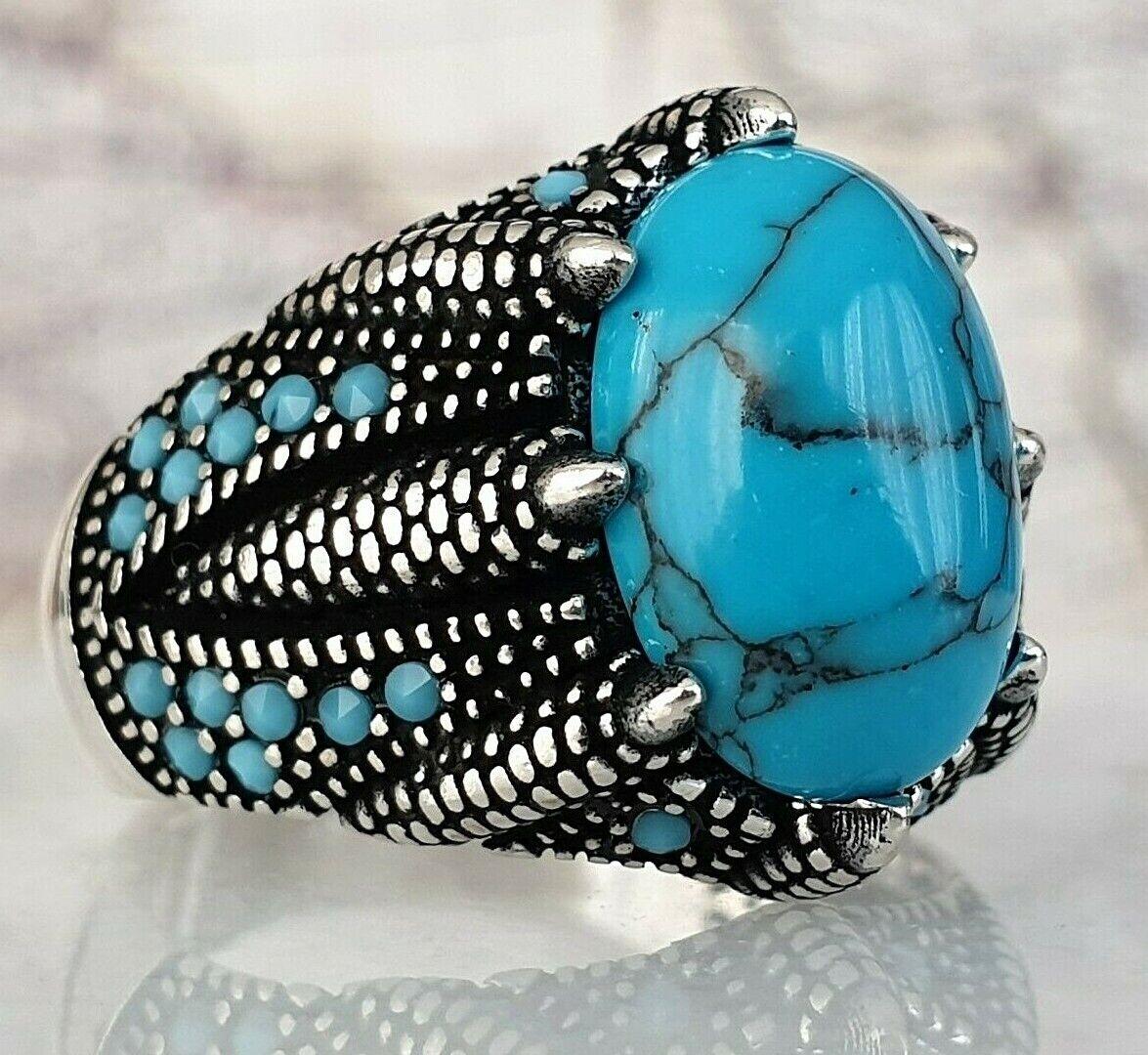 Turkish Ottoman Turquoise  Gemstone Solid 925 Sterling Silver Ring Gemstone