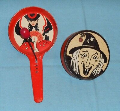 Vintage Halloween Cat Faces (vintage Halloween NOISEMAKER LOT x2 Kirchhof witch face +)