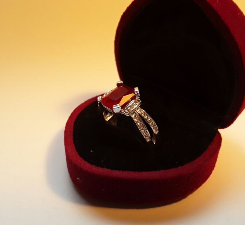 2.5ct  Ruby 7*9mm 14K White Gold Filled Ring  Size - 7