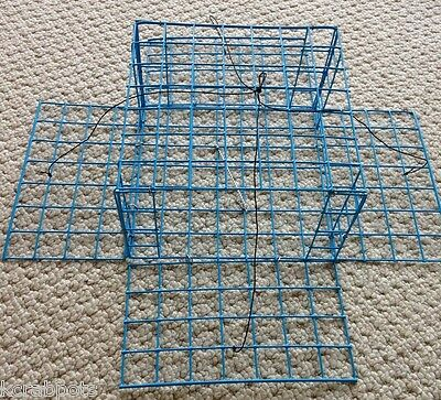 - PVC Blue Homemade Four Door Crab Trap with bait holder
