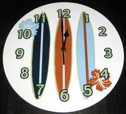 TREND LAB SURF'S UP WOOD WALL CLOCK Surfing Surf Board Beach Bedroom