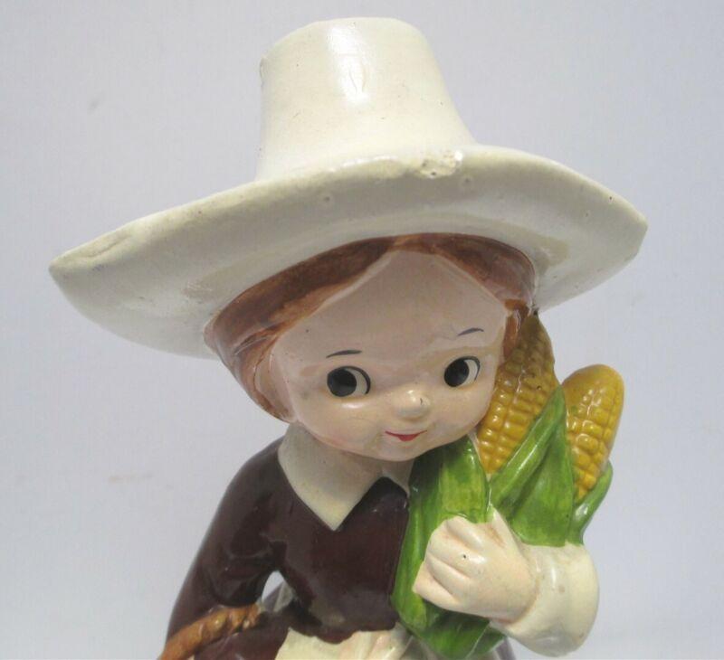 "Vintage Thanksgiving Ceramic Pilgrim Girl with Corn and Apple Basket Yozie 6.5"""