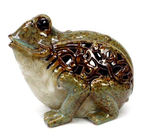 Ceramic Frog Figurine Filigree Scroll Cut Accent Stoneware Frog Statue