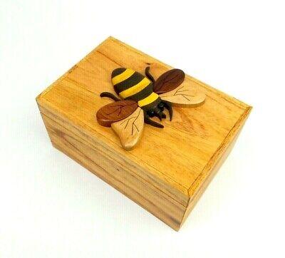 Honey Bee Wooden Box Intarsia Wood Decorative Trinket Jewelry Box Treasure Chest
