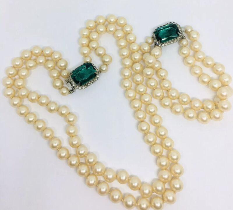 Fabulous LES BERNARD Faux Pearl & Emerald Green Necklace Bracelet Vtg Jewelry