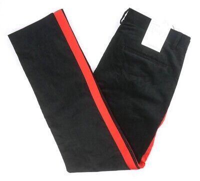 NEW MENS CALVIN KLEIN BLACK VELVET WITH RED STRIPED SLIM FIT DRESS PANTS