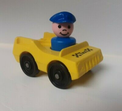 Vintage FISHER-PRICE Little People Yellow Taxi & Driver 2 Piece Lot NICE