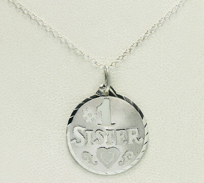 Sterling Silver Diamond Cut # 1 Sister Heart Circle Pendant Cable Chain Necklace