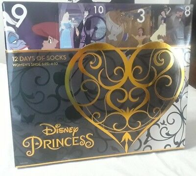 Disney Princess 12 Days Of Socks Women`s Size 4-10 Christmas Advent Calendar