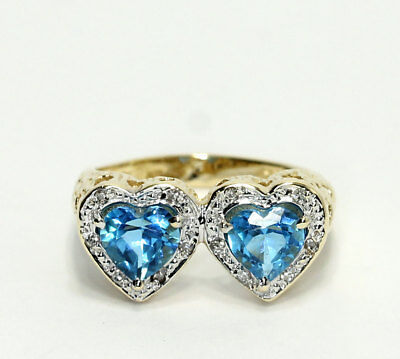 14k Gold Diamond Swiss Blue Topaz Double Heart Textured Open Work Band (Diamond Open Ring Swiss)