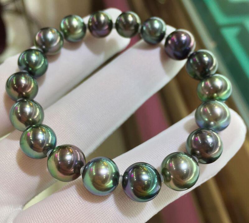 18 Tahitian Peacock Pearls Bracelet 10mm - 8mm Top Luster AAAA