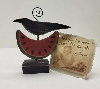Spooky Wooden Country Halloween Crow & Watermelon TableCard Holder Autumn Decor ](Halloween Watermelon)