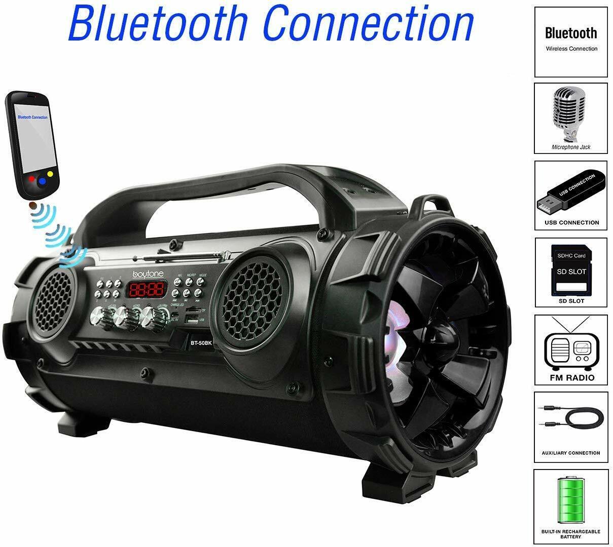 Boytone BT-50BK Portable Bluetooth Boombox Speaker, Indoor/O