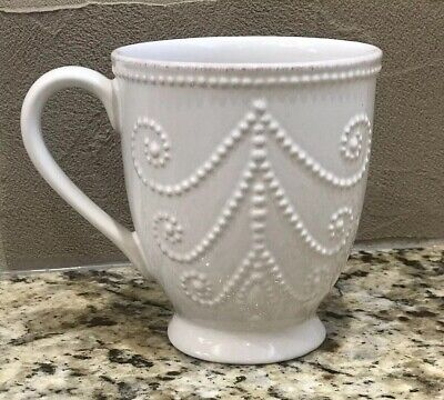 Lenox French Perle White Mug 12 Ounce Coffee Cup 822955 New With Tag - French White-mug