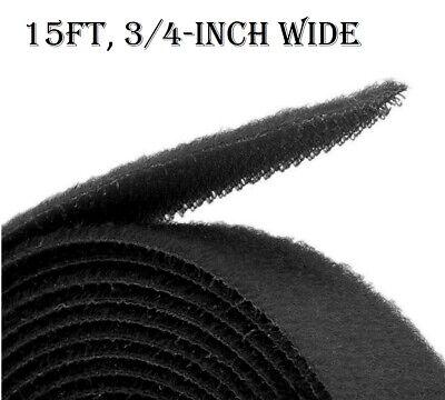 Sticky Back Tape Adhesive Hook Loop 15'x3/4'' Black Velcro Brand Waterproof (Velcro Backing)