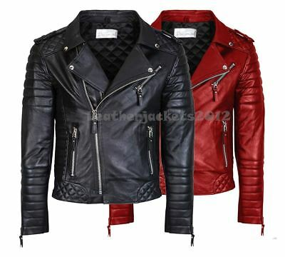 MENS GENUINE LEATHER JACKET SLIM FIT REAL BIKER NEW XS-3XL VINTAGE ST-49C