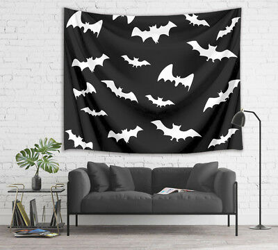 Halloween Black & White Bat Design Tapestry Wall Hanging for Living Room Bedroom ()