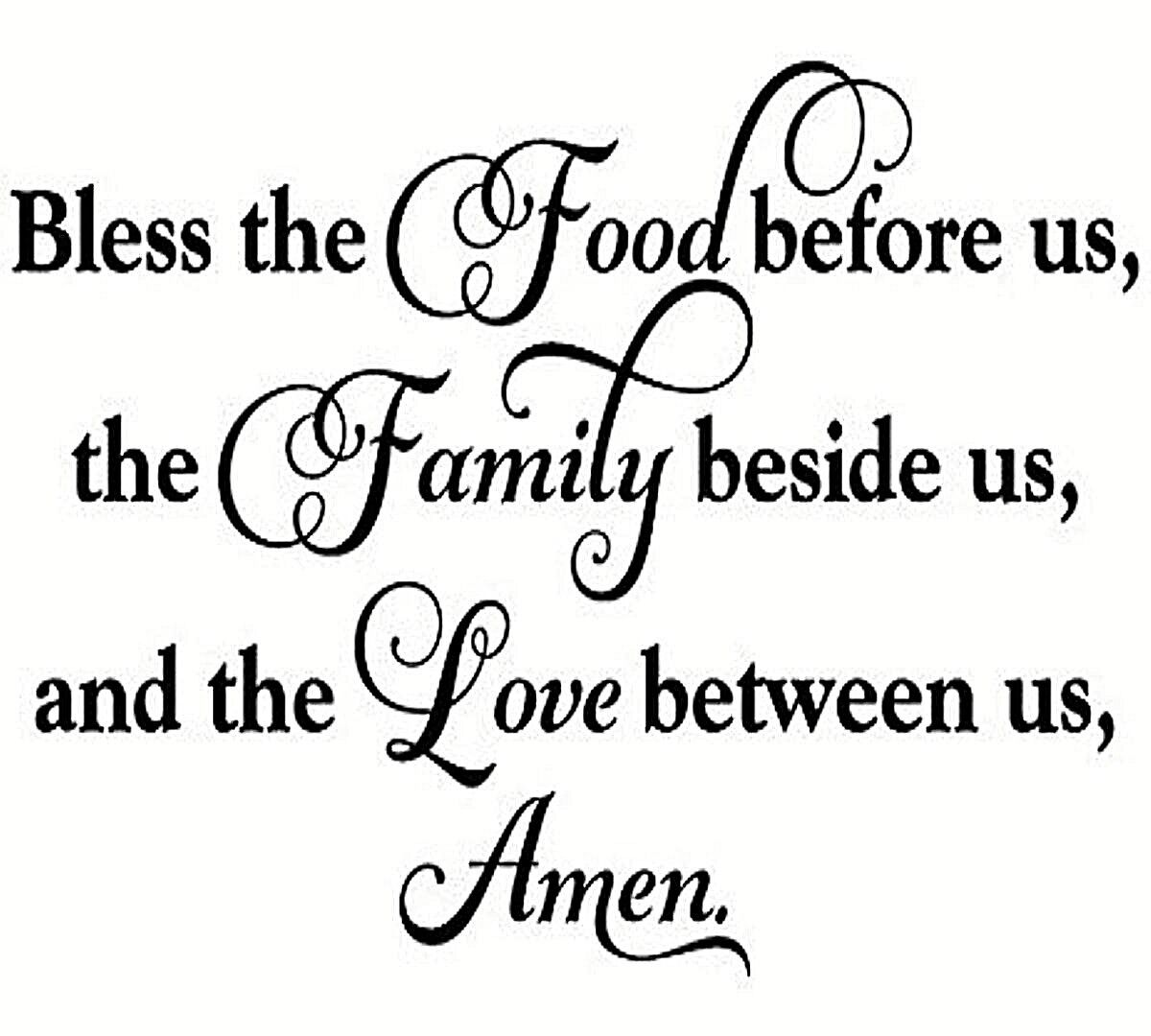 Home Decoration - BLESS THE FOOD BEFORE US Vinyl Design Wall Art Sticker Decal Decor Christian
