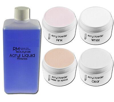 Acryl Set 2  - 100ml Liquid je 20g Klar - Weiß - Pink - Apricot Nageldesign