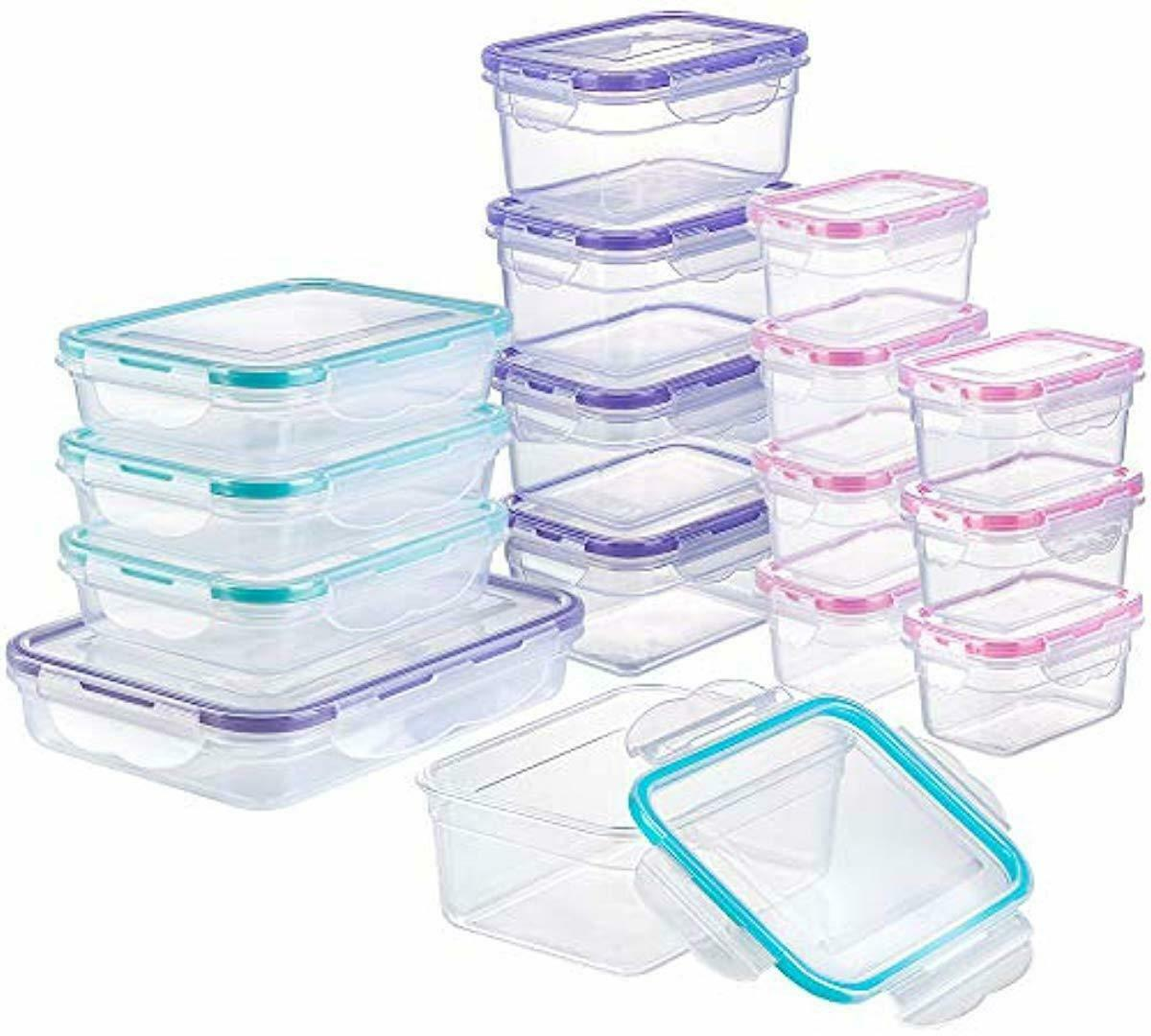 Plastic Meal Containers With Lid 16 Pack Airtight Storage Sn