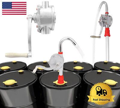 Rotary Barrel Pump 55 Gallon Drum Fuel Dispenser Hand Crank Self Priming 10 Gpm