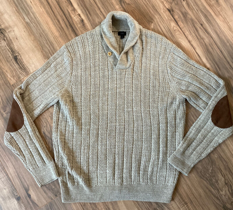 J. CREW Mens Cable Knit Sweater XL Extra Large Beige Brown Khaki Nice Cotton