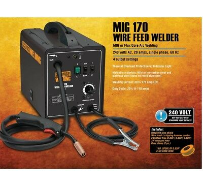 170 Amp-dc 240 Volt Migflux Cored Arc Welder With Welding Cable Guns