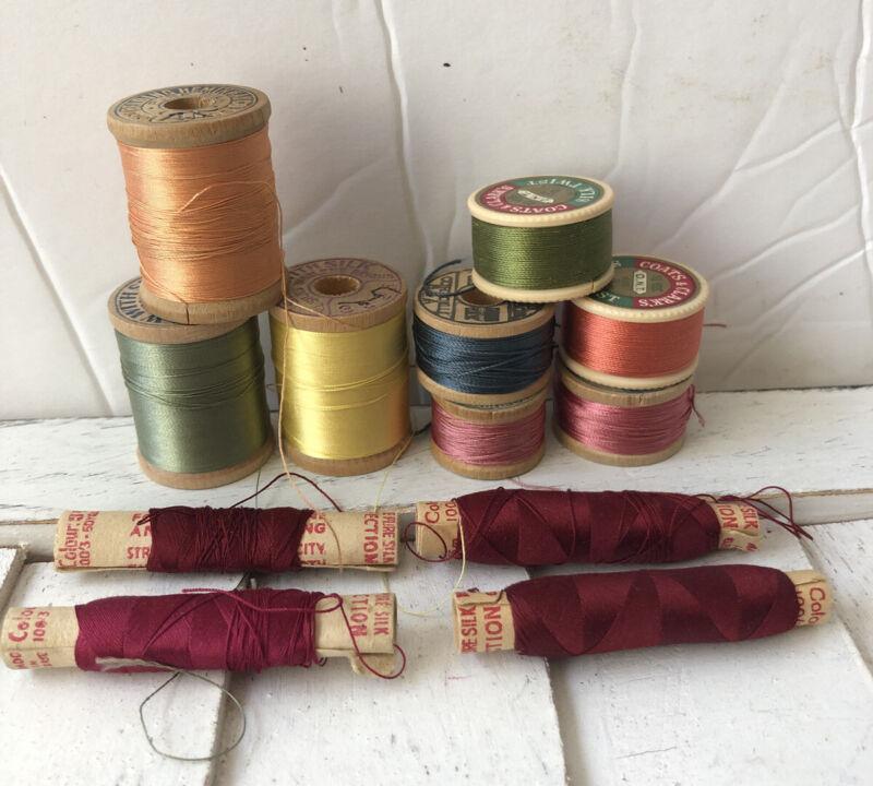 12 Vintage Wooden/Paper Spools Silk Thread Belding  Perfection Coates & Clark