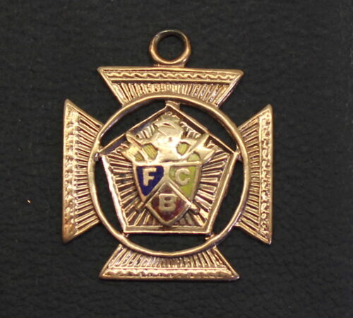 Antique Knights of Pythias 10K Gold & Enamel FCB Fraternal Insignia Lapel Pin