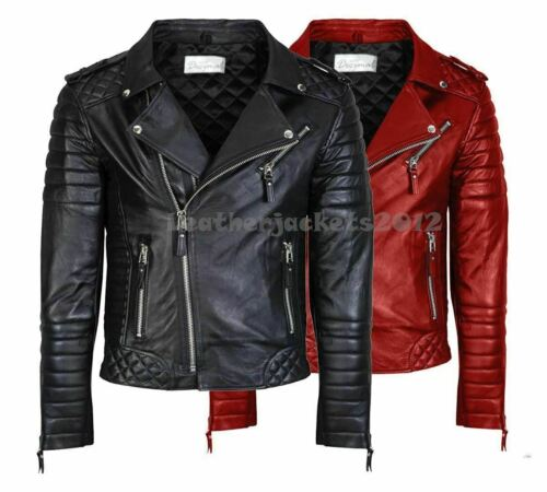 MENS GENUINE REAL LEATHER JACKET ASYMMETRICAL BIKER SLIM FIT