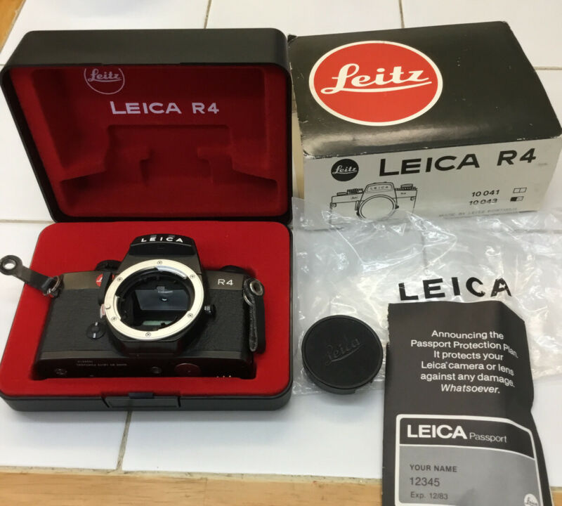 LEICA 10043 R4 SLR 35mm FILM CAMERA BODY With Case By LEITZ PORTUGAL