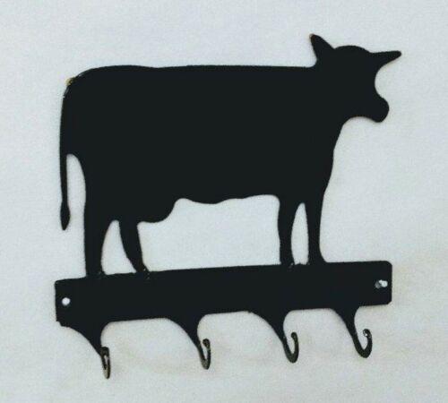 Cow 4 Hook Leash or Key Holder Black Wrought Iron Look Made in USA