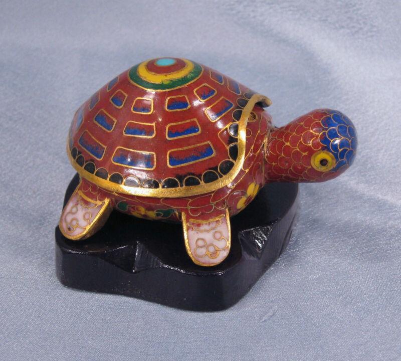 Cloisonne Figurine Vintage Turtle Trinket Box Brown