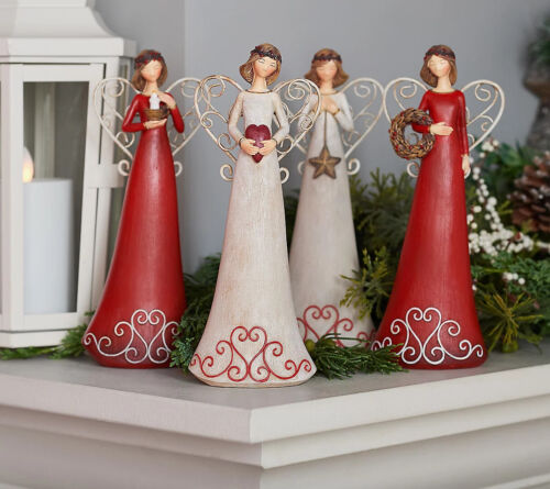"""Valerie Parr Hill Set of (4) 8"""" Angel Figurines with Gift Boxes Red/White"""
