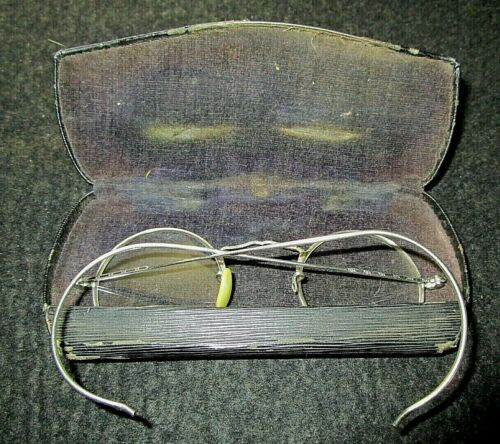 Antique Cortland Round Frame Silver Spectacles W/Case
