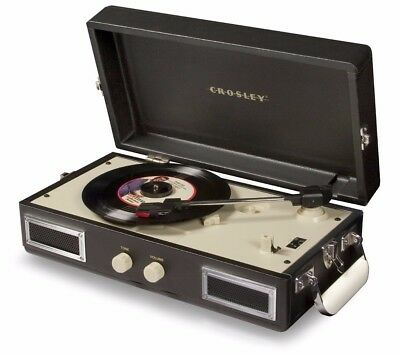 Crosley CR40 3 Speed Mini Turntable (Black) Retro Styling with Stereo Speakers