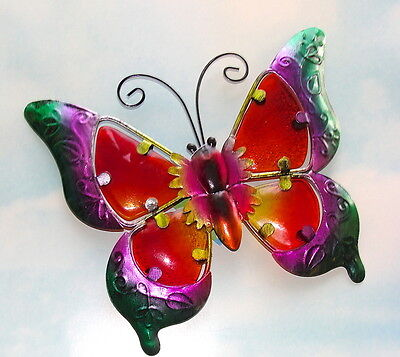 HOME GARDEN POOL YARD PATIO *BUTTERFLY WALL ART* 12185 METAL/ GLASS GREEN NEW