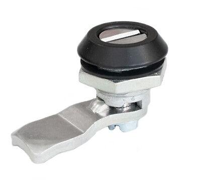 Black Steel Quarter Turn Cam Lock Latch - Operates By Screwdriver - Slot - Ip65