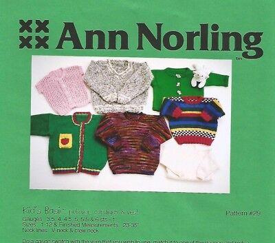 Kid's Basic Sweater Pullover Cardigan Vest Knitting Pattern 1-12 Ann Norling #29 Basic Sweater Knitting Pattern