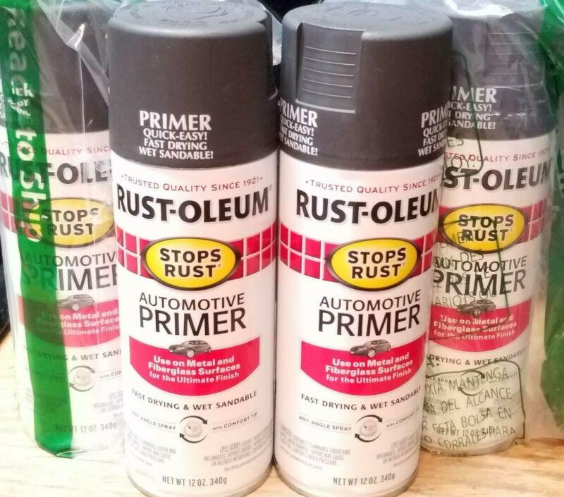 4 Pk New RustOleum 12 Oz Dark Gray Stops Rust Auto Spray Primer 2089-830