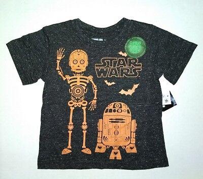 Toddler Boys Star Wars Halloween T Shirt C3PO Skeleton R2D2 12M 18M 2T 4T Black